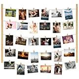 Y&ME YM Wood Picture Photo Frame for Hanging Wall Decor, Collage Artworks Prints Multi Pictures Organizer with 30 Clips and Adjustable Twines, DIY Wood Hanging Display Frames (Burlywood)
