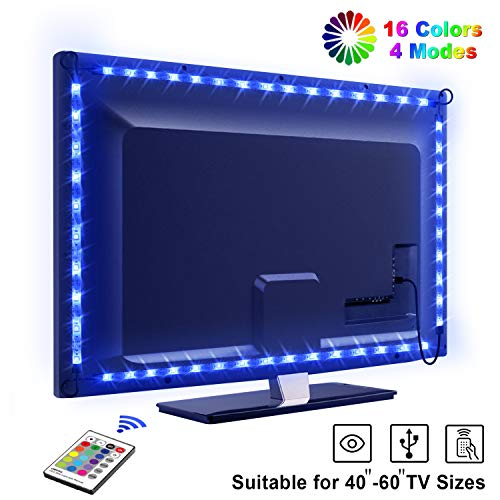 LED TV Retroilluminazione, OMERIL 2.2M Retroilluminazione TV LED USB alimentata con Telecomando e 16 Colori e 4 Modalit, Striscia Luminosa a LED RGB 5050 per HDTV da 40-60 Pollici, PC Monitor