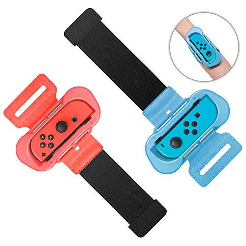 MENEEA Armband für JoyCon - Verstellbarer elastischer Gurt, kompatibel mit Just Dance 2021 2020 2019, Packung mit 2 elastischen Tanzbändern, Zwei Größen für Erwachsene und Kinder (Rot und Blau)