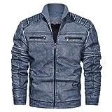 Uqiangy Mens Retro Classic Casual Loose Zipper Biker Motorcycle Trucker Denim Jacket Large Sizes(Blue,XXXXL)