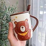 LOYWT Dibujos Animados Coreanos Oso en Relieve Taza de cerámica Taza de Animales Taza de Agua de café-Brown Bear_400ml