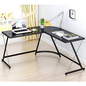 SHW L-Shape Corner Desk Computer Gaming Desk Table, Black