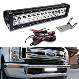 iJDMTOY Lower Grille Mount LED Light Bar Compatible With 2017-up Ford F250 F350 Super Duty, Includes (1) 84W High Power LED Lightbar, Lower Bumper Opening Mounting Brackets & On/Off Switch Wiring Kit