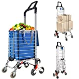 Portable Stair Climbing Cart with 8 Wheels, Heavy Duty Double Handle Rolling Grocery Laundry Utility Shopping Cart(Blue)