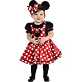 Party City Minnie Mouse Red Halloween Costume for Babies, Disney, Infant 0-6M, Includes Dress and Minnie Ear Headband