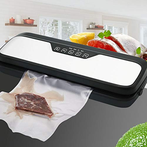 Upscale Vacuum Sealing and Packing Machine with 10 pc Vacuum Storage Bags(24 * 19.5cm), Stainless Steel Top, Multifunction Settings for moist and dry food, built-in cutter and marker pen