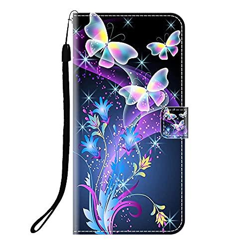 Sunrive Kompatibel mit ZTE Blade V2020 smart Hülle,Magnetisch Schaltfläche Ledertasche Schutzhülle Etui Leder Case Handyhülle Tasche Schalen Lederhülle MEHRWEG(Q Schmetterling 2)