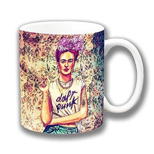 Frida Kahlo Fab Ciraolo Daft Punk taza de café de cerámica regalo de Navidad calcetín de