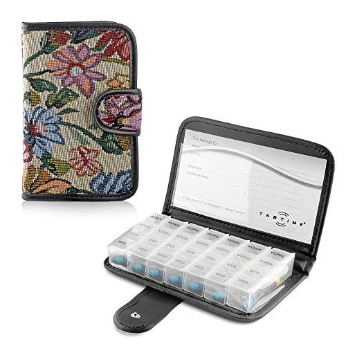 TabTime Tapisserie Pille/Tablet Wallet, 7 Tage Tablettenbox tragbar mit 28 Fächer und Schutzhülle
