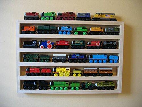Train Rack Basic - Thomas Train Wooden Storage Display Wall Rack Shelf Play Table Accessory Case for Brio Chuggington Melissa and Doug