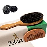 100% Boar Bristle Hair Brush for Men Set. 100% Boar Bristle Brush and Wooden Comb for Men. Free 2 x Palm Brush & Travel Bag Included. Hairbrush for Thin, Normal and Short Hair