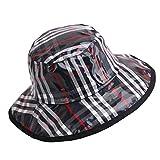 Women's Rain Hats Waterproof Rain Hat Wide Brim Bucket Hat Rain Cap Foldable and Portable,Easy to Carry (Black Stripe)