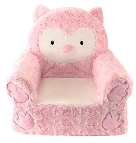 Sweet Seats Rosa Búho De Peluche silla, color rosa/blanco, 35,6x 48,3x 50,8cm