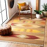 Safavieh Kilim Collection NVK177A Handmade Southwestern Tribal Wool Area Rug, 3' x 5', Red / Multi