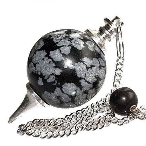 Péndulo esférico para radiestesia y sanación en Cristales de Piedra Semipreciosa Genuina (Obsidiana Copo De Nieve)