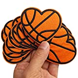 2.6'x2.4' 12pcs I Love Basketball Heart Iron On Sew On Embroidered Patches Appliques for Sport Cap Hat Machine Embroidery Sewing Craft