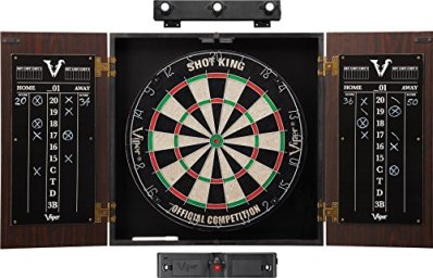 Viper by GLD Products Stadium Cabinet & Shot King Sisal/Bristle Dartboard Ready-to-Play Bundle: Elite Set (Shot King Dartboard, Darts, Shadow Buster and Laser Throw Line), Black (40-1213)