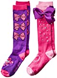 JoJo Siwa Big Girl's 2 Pack Knee High, purple bow, Fits Sock Size 6-8.5 Fits Shoe Size 7.5-3.5