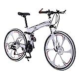 Folding Bike Outroad Mountain Bike 21 Speed 6 Spoke Double Disc Brake Bicycle Fold Bike for Adult Teens Lightweight Aluminum Frame Mountain Bikes (White)