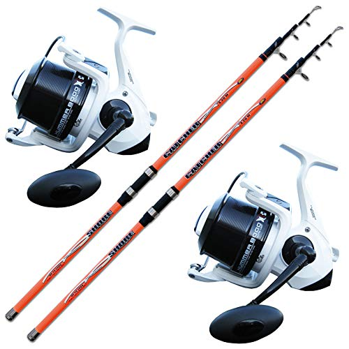 Evo Fishing Kit 2 Canne Surfcasting Catcher 420 + 2 MULINELLI Hummer 8000 XSC Big Pit Surf + Filo