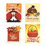 Thanksgiving Greeting Card Assortment 4 Packs 5x7 Inch 5D Diamond Painting Turkey Thanksgiving Holiday Cards With 4 PCS Envelopes For Both Personal And Business Use