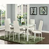 IDS Online Deluxe Glass Dining Table Set 7 Pieces Modern Design With Faux Leather Chair Elegant Style Anti Dirt -51.2' X 27.6' X 29.5' White