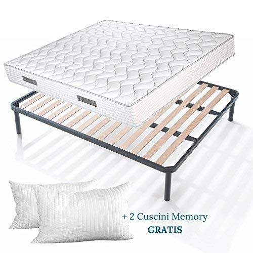 EVERGREENWEB Kit Rete e Materasso Matrimoniale 160x190 Alto 20 cm con 2 Cuscini Memory Foam Gratis,...