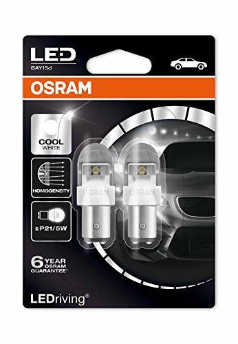 Osram 1557CW-02B Lampadina 6000K Bay15D Cool White 2W/0.4W 12V LEDriving, P21/5W, Set di 2