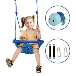 YKB Kids Swing Seat Tree Swing Heavy Duty Rope Play Secure Children Round Swing Set Suit for Indoor/Outdoor/Playground/Home/Tree with Snap Hooks and Swing Straps|300KG/661 lbs Capacity