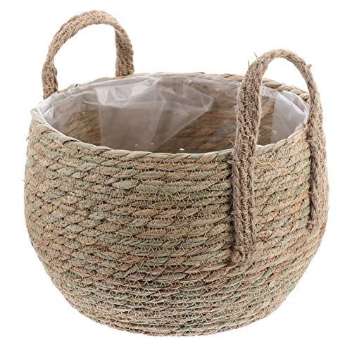 SOIMISS Macetero redondo de 24 cm, de junco marino, cesta para almacenamiento, cesta para plantas, juguetes, almacenamiento, para cumpleaños, Navidad, boda, decoración de mesa