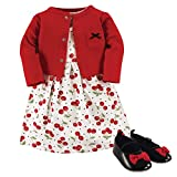Hudson Baby Baby Girl Cotton Dress, Cardigan and Shoe Set, Cherries, 3-6 Months