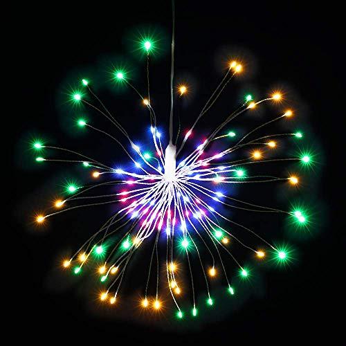 Fuochi D'artificio a LED Luci Colorate, Linea D'argento 120 LED luce impermeabile Natale luci Scintilla Telecomando per Camera, Giardino, Patio, Matrimonio, Festa, Decorazione Fai da Te, 1Pz