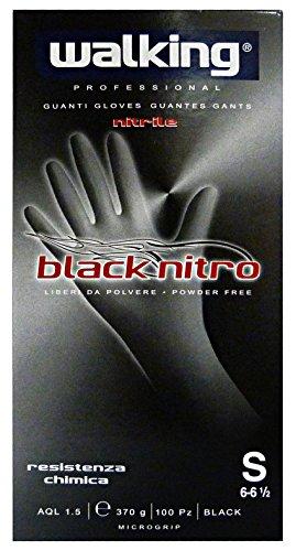 WALKING Guanti X 100 BLACKNITRO S Nitrile 010581 Giardinaggio, Multicolore, Unica