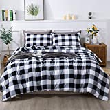 Andency Gray Plaid Comforter Queen(90x90 Inch), 3 Pieces(1 Plaid Comforter and 2 Pillowcases) Buffalo Check Plaid Comforter Set, Microfiber Down Alternative Comforter Bedding Set