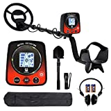 Metal Detector for Kids/Adults,Lightweight Underwater Gold Detector with Pinpoint,Backlit LCD Display,Treasure Hunter for Kids,Adjustable Height Gold Digger,Shovel,Headphone,Flashlight Included