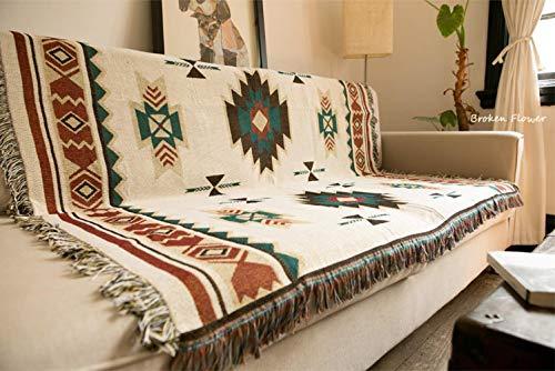 Shiyantq - Coperta decorativa per divano, stile etnico tribale, geometrico, azteco, navajo, 120 x 150 cm, 1 kg