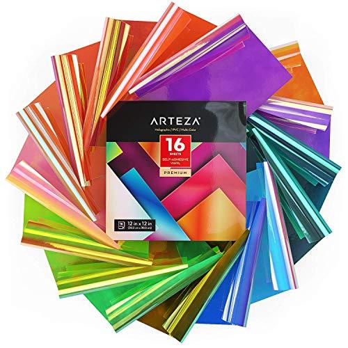 Arteza Holographic Self Adhesive Vinyl, 12x12 Inch, Set of 16,...