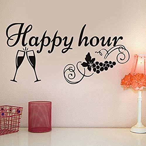 Adesivo Da Parete Per Applique Da Cucina Happy Hour Decorazione Per Bicchiere Di Vino Lavagna...