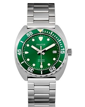 Pantor Sealion 300m Automatic 42mm Pro Dive Watch with Helium Valve Rotating Bezel Sapphire Green dial Stainless Steel Bracelet & Rubber Strap Sports Watch