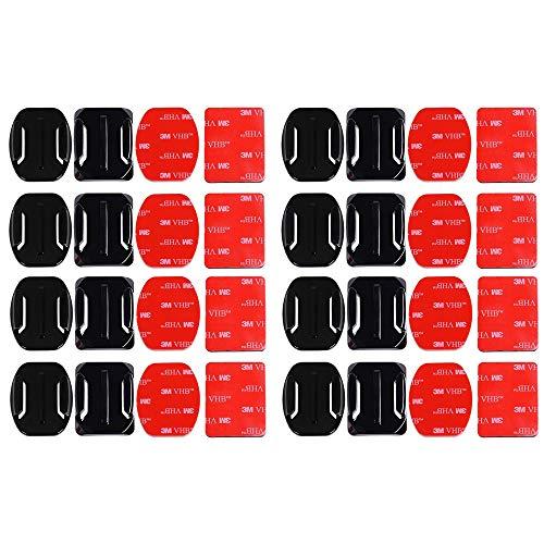 Gurxi 32 Pezzi Attacchi Adesivi Piatti e Curvi Staffa Adesiva per Casco Supporti Adesivi Piatti Casco Supporti Adesivi con Cuscinetti per GOPRO Action Camera Hero Session / 4/3/3 + / 2 Action Camera