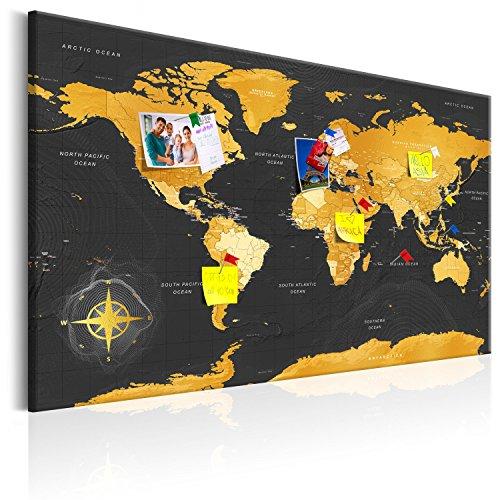 murando Carte du monde pour mettre des punaises & Tableau sur toile 90x60...
