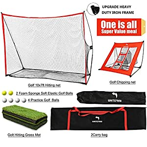 Super Value Bundle: Includes the 10 x 7 feet Golf Net ($199.99), Chipping Net ($29.99), Tri-Turf Golf Mat ($59.99) and 6 Golf Balls with 2 Carrying Bags. Definitely save your money! Enjoy the Fun of Golf Swing at Home: Set up your driving range just ...