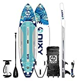 """NIXY Newport Paddle Board All Around Inflatable SUP 10'6' x 33"""" x 6"""" Ultra-Light Stand Up Paddleboard Built with Dual Layer Woven Drop Stitch Includes Carbon Hybrid Paddle, Pump, Bag & More (Exuma)"""