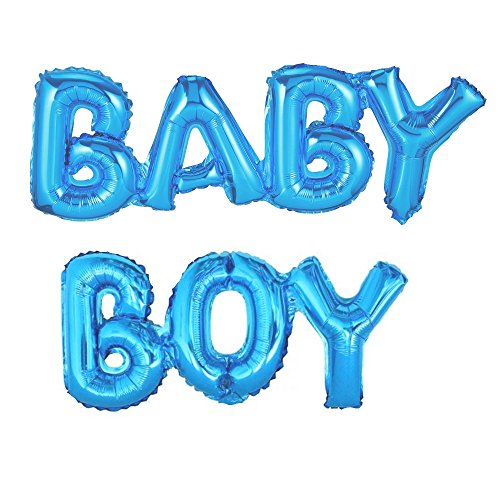 ballonfritz® Luftballon Baby Boy Schriftzug in Blau - XXL Folienballon als Geschenk zur Geburt eines Jungen, Baby-Shower-Party Deko oder Überraschung