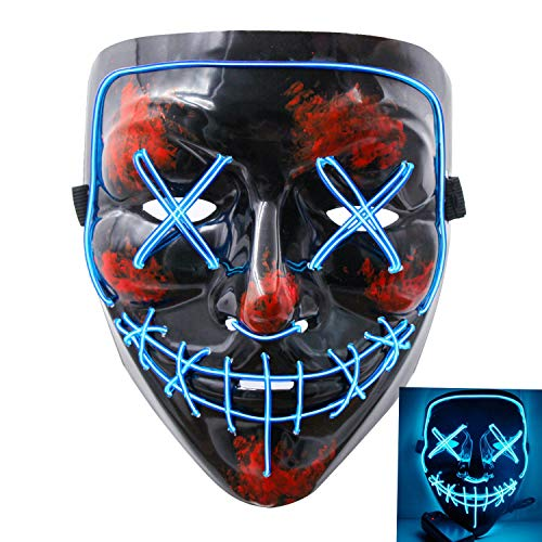 heytech Halloween Scary Mask Cosplay Led Costume Mask EL Wire Light up for Halloween Festival Party