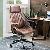 ovios Ergonomic Office Chair,Modern Computer Desk Chair,high Back Suede Fabric Desk Chair with Lumbar Support for Executive or Home Office (Dark Brown)