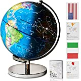 Children Illuminated Spinning World Globe with Stand Plus a Bonus Card Game. 3 in 1 Interactive Educational Desktop Earth Globe for Kids|LED Night Light Lamp, Political Map and Constellation View.