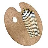 Palette en bois avec ensemble de pinceaux en bois de 12 pièces - Ensemble de pinceaux à peindre et palette en bois ovale pouvant - Kit d'art et de création parfait pour projets amateurs
