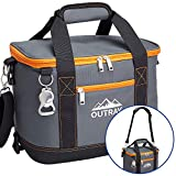 Orange Insulated Cooler Bag – 6L Collapsible Thermal Lunch Bag with Bottle Opener, 16 Can Capacity – Perfect For Camping, Picnics and Travel - Handles and Removable Shoulder Strap - By Outrav