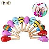 Mini Wooden Fiesta/Ball Musical Instruments Maracas-12pcs(Colors Vary)